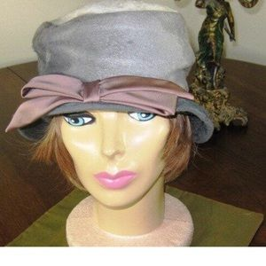 Vintage 60s Felt Cloche Shades of Grey and White